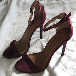 Wine colored faux suede high heel